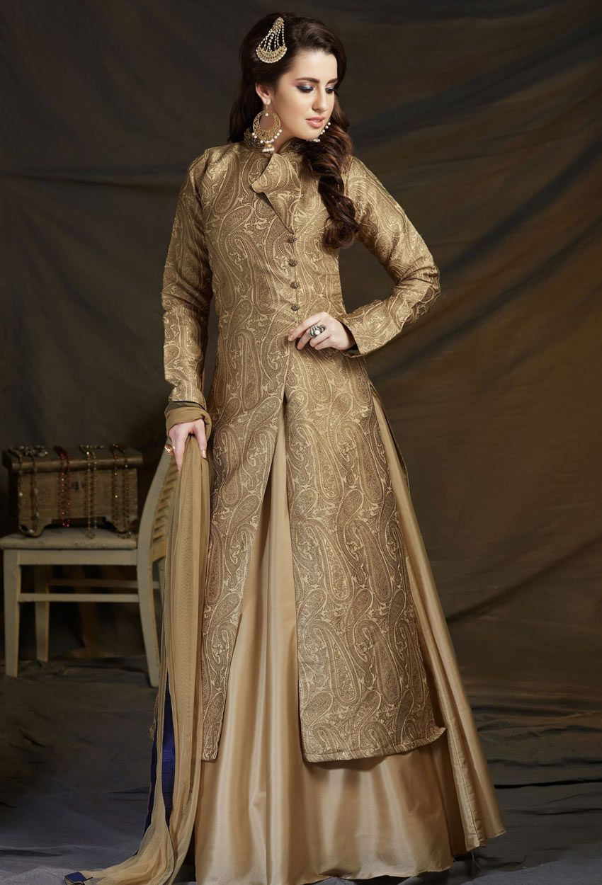Beige Banarasi Brocade #Achkan Style #Salwar #Kameez #nikvik #usa #designer  #australia #canada… | Indian fashion dresses, Party wear dresses, Long  kurti with skirt