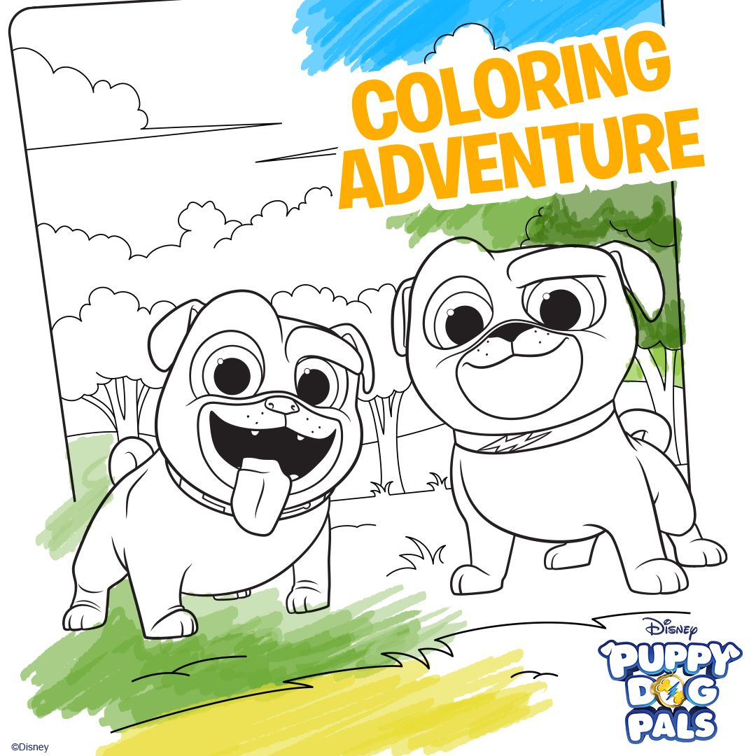 Puppy Dog Pals Printable Coloring Pages Take Your Kids On A Coloring Adventure With Bingo And Rolly With This Downloadable Disney Disney Colors Disney Junior