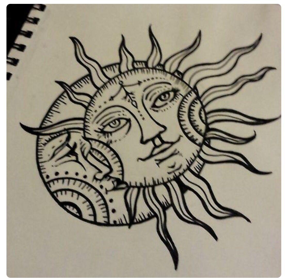 Sun moon Sun drawing, Moon tattoo, Tattoo drawings
