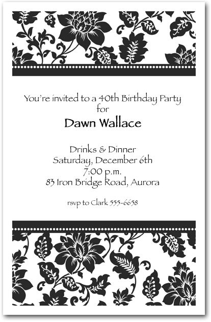 Black damask birthday damasks birthdays and 40th birthday parties black damask on a white background is a popular for birthday party invitations you can use any wording on the black damask birthday invitations to fit your filmwisefo Images