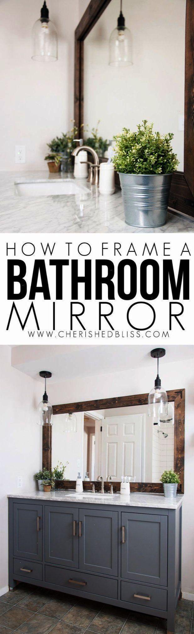 Diy bathroom decor ideas wood framed bathroom mirror tutorial