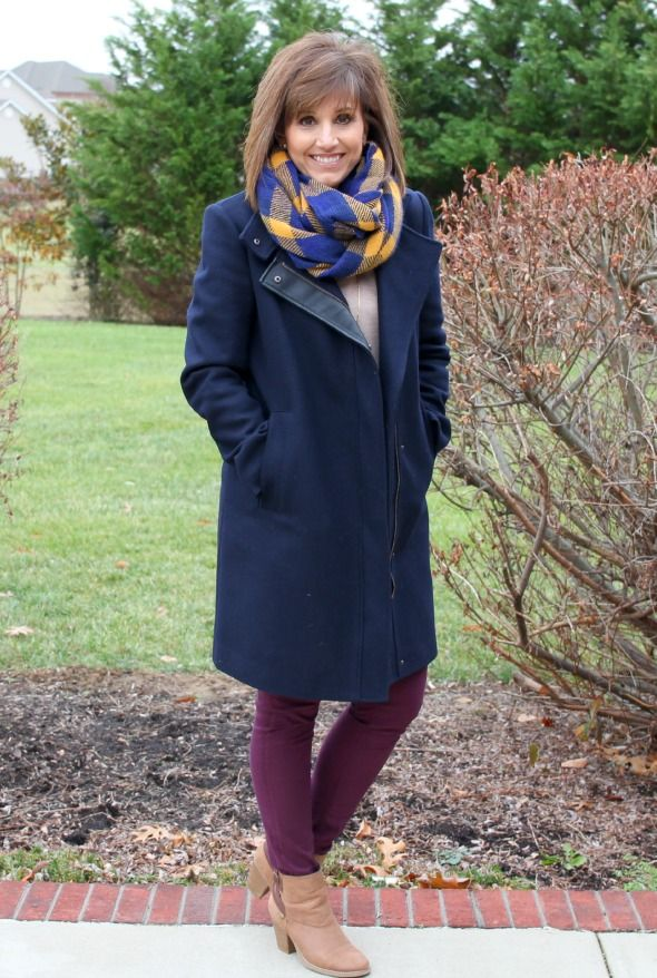 Stitch Fix Review-I Kept It All! Emmet Classic Peacoat with leather detailing giving a modern look to a classic coat