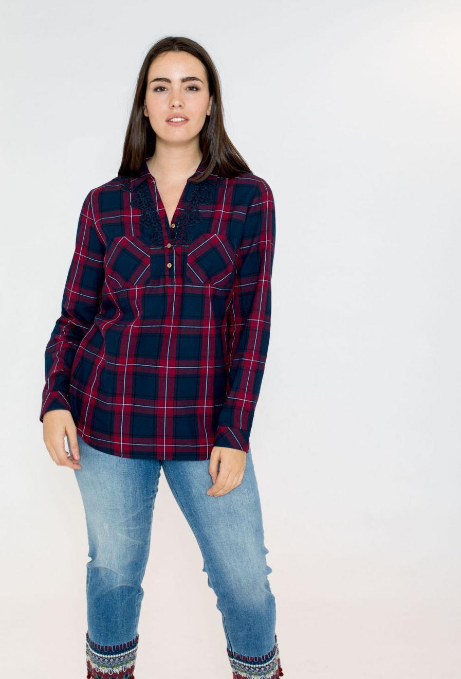 Camisa Cuadros Encaje Tallas Grandes October Camisa De Cuadros Camisas Tiendas De Ropa