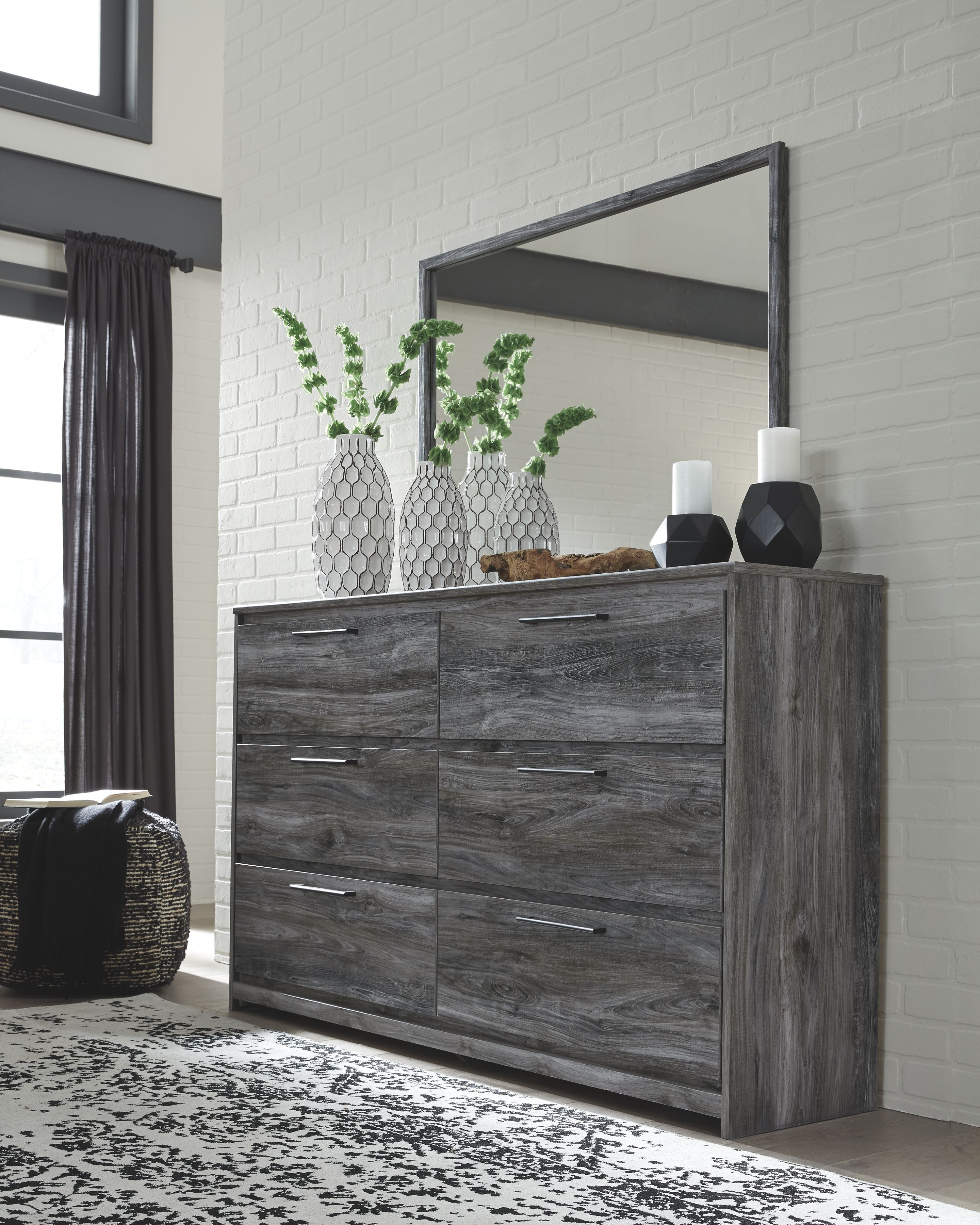 Baystorm dresser and mirror gray