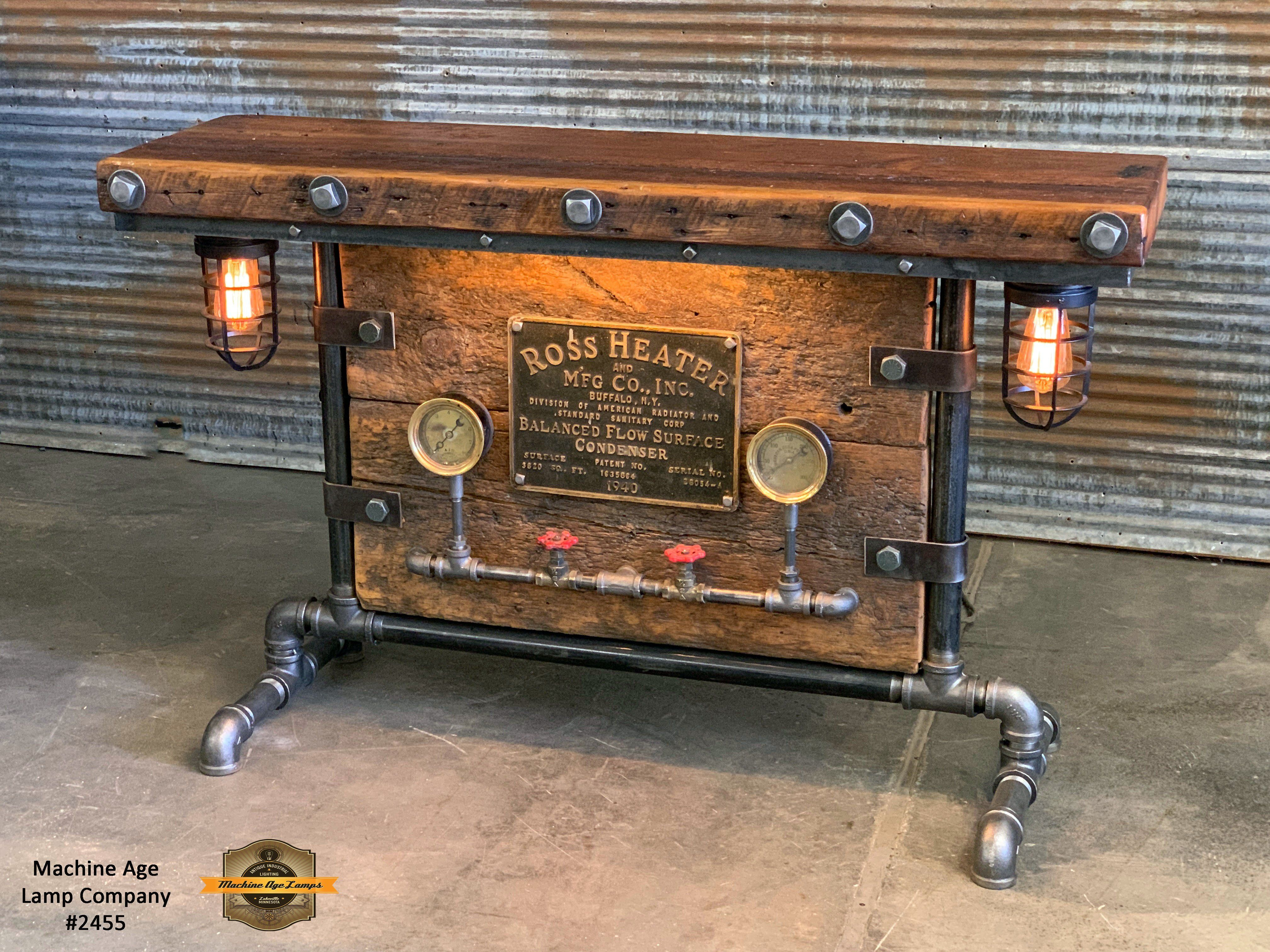 Steampunk Industrial Barn Wood Table Console Bar Lighted