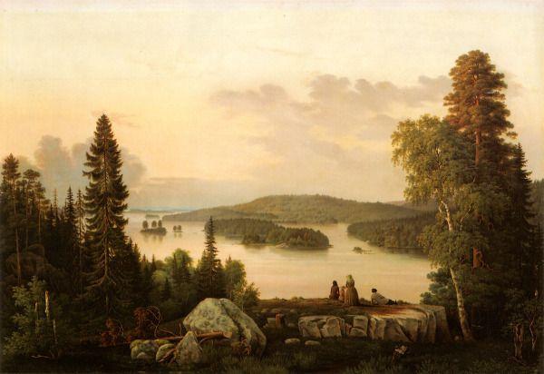 """""""View from Suopeltovuori"""" - """"Näköala Suopeltovuorelta"""" (1854)   Magnus von Wright (1805-1868) - Jokaisen kolmen veljeksen jokaiseen maalaukseen sopivat sanat, jotka Helsingfors Tidningar kirjoitti Magnus von Wrightin maisemasta 10.5.1860: """"Tässä taulussa on niin paljon rakkautta, että se säteilee."""""""