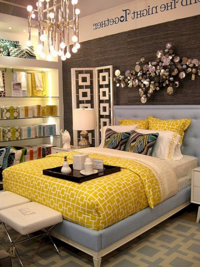 12+ Cozy Grey Yellow Bedrooms Decorating Ideas  Yellow bedroom