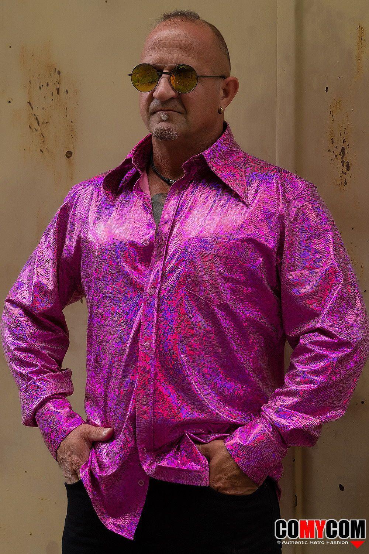 Glitterhemd Pink 70er Jahre Party Hippie Look Mode Retro Hemden
