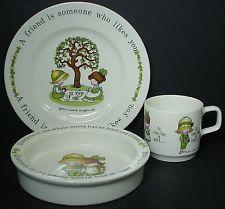 JOHNSON BROTHERS china HAVING A FRIEND 3-pc CHILD'S SET Mug, Plate, Bowl