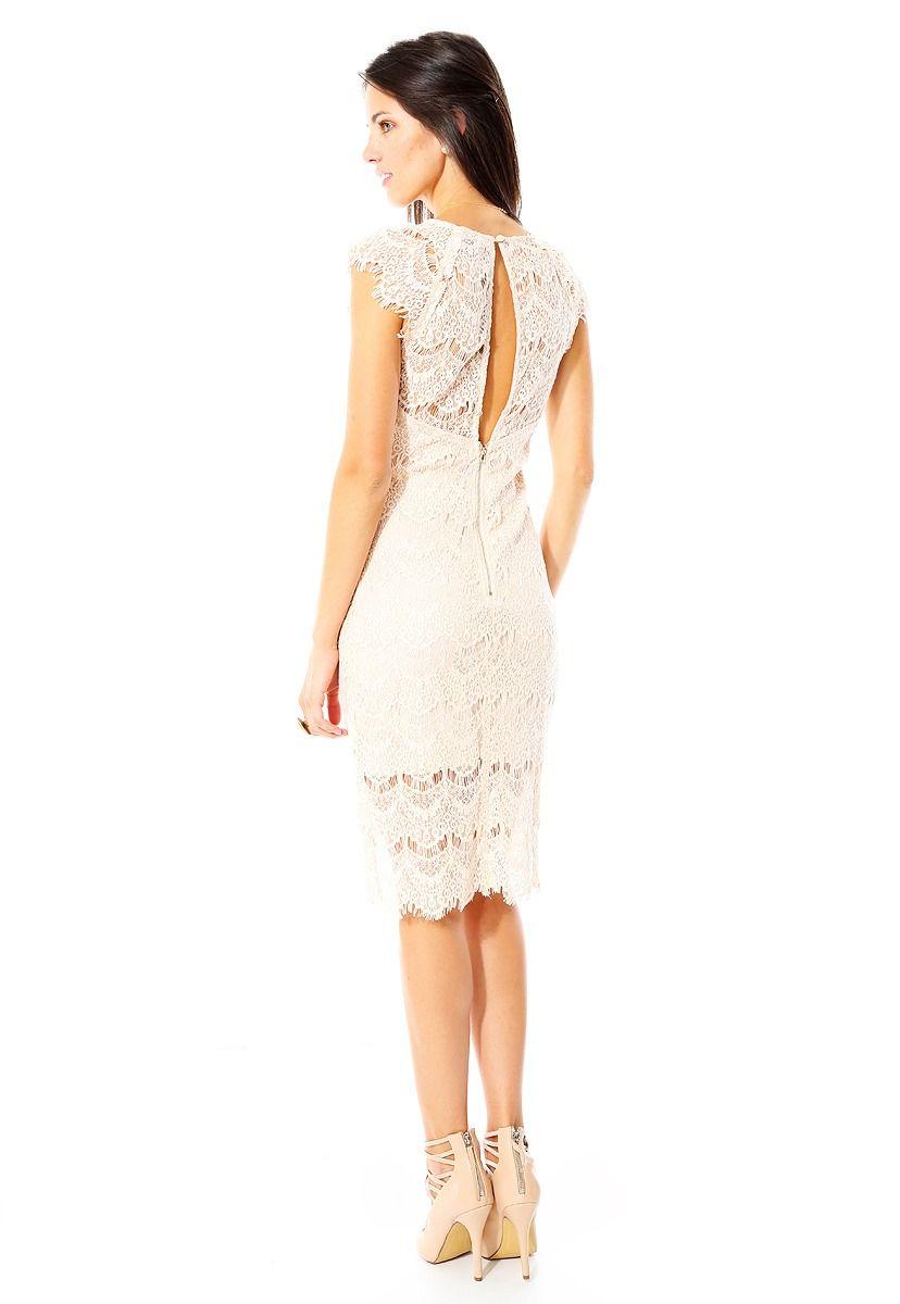 anna flynn - vestido de encaje - beige - 9685