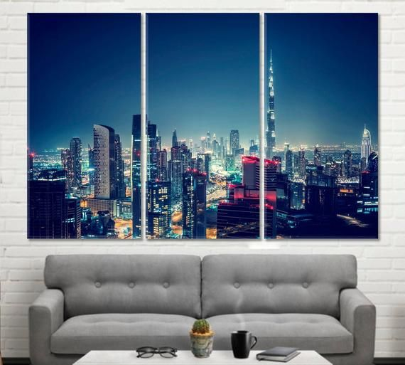 DUBAI NIGHT MODERN ART PICTURE  PRINT ON WOOD  FRAMED CANVAS WALL ART DECORATION