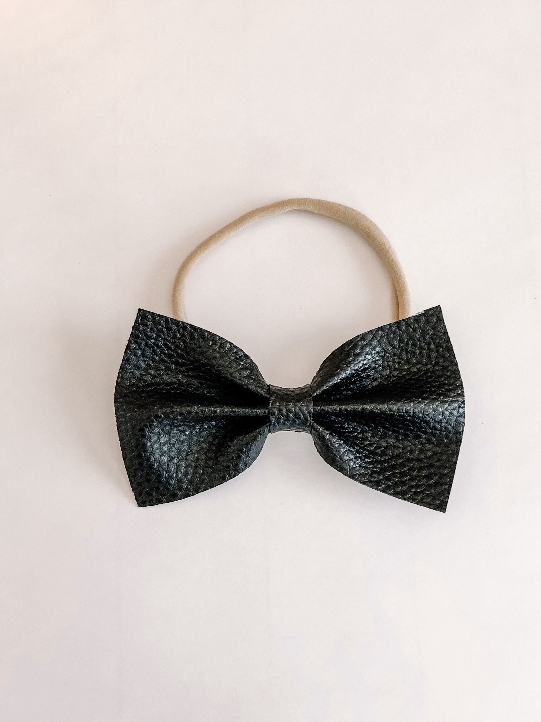 Black Hand Tied Baby or Toddler Bow Black Fabric Bows for Baby or Toddler on Nylon Headband or Clip Little Black Bow
