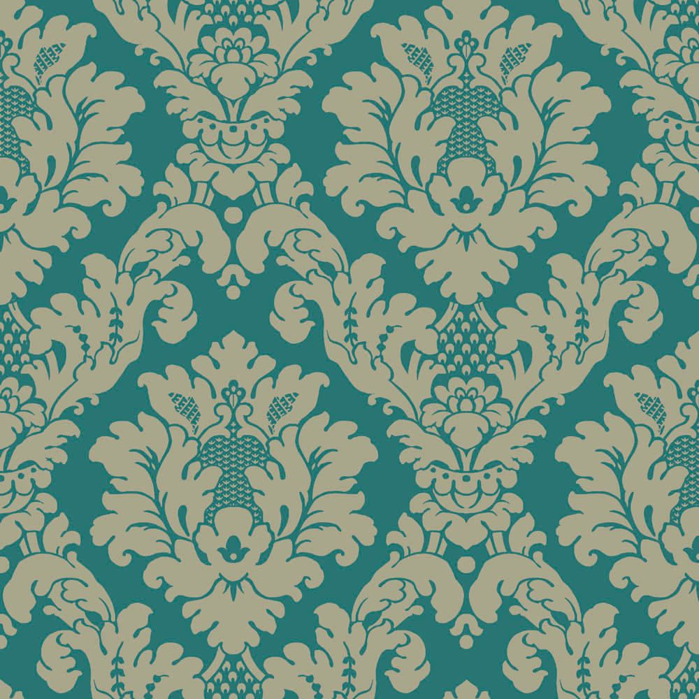 Da Vinci Damask Teal wallpaper by Arthouse Teal and gold