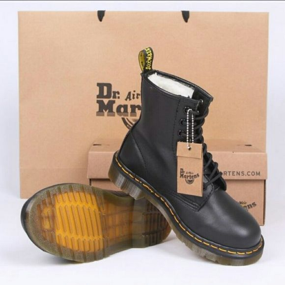 Doc Marten 1460 The original Dr. Martens Classic 8-Eye boot Black Hard Leather  Unisex Brand New with box, tag, bag, and receipt  Bought size 9 in women but runs big doc martens  Shoes Lace Up Boots