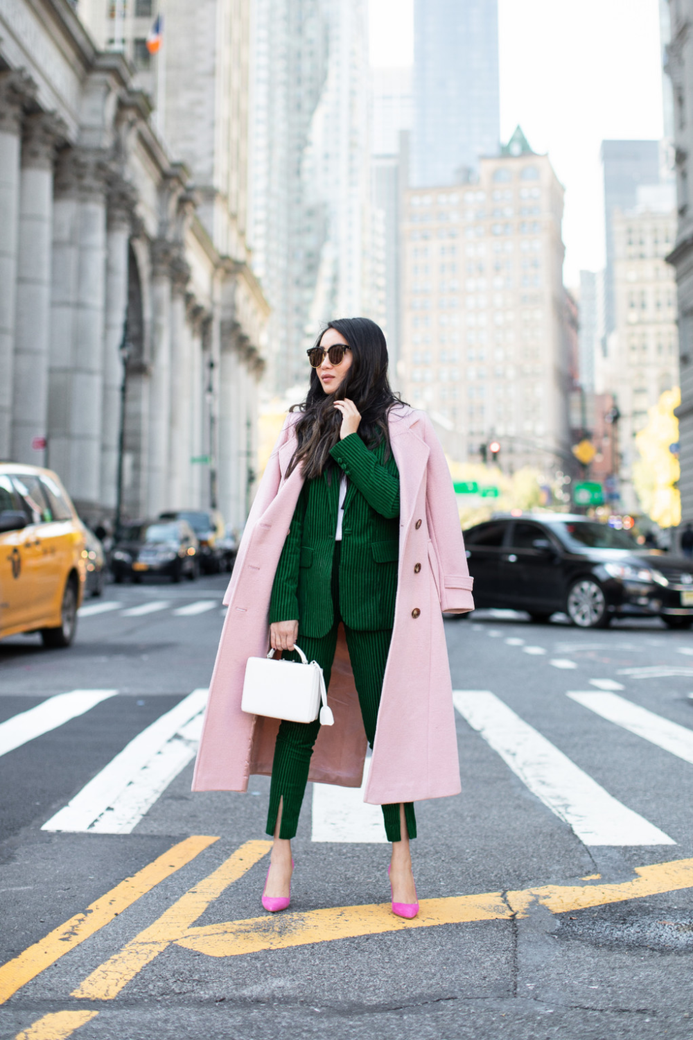 Color Story - Fall Outfits in Pink and Green - Wendy's Lookbook