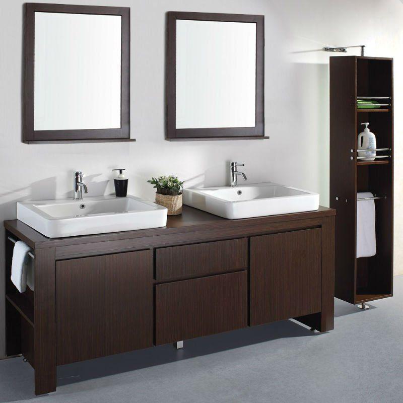 72 39 39 doble lavabo moderno espresso muebles de ba o mb - Muebles de bano para lavabo con pie ...