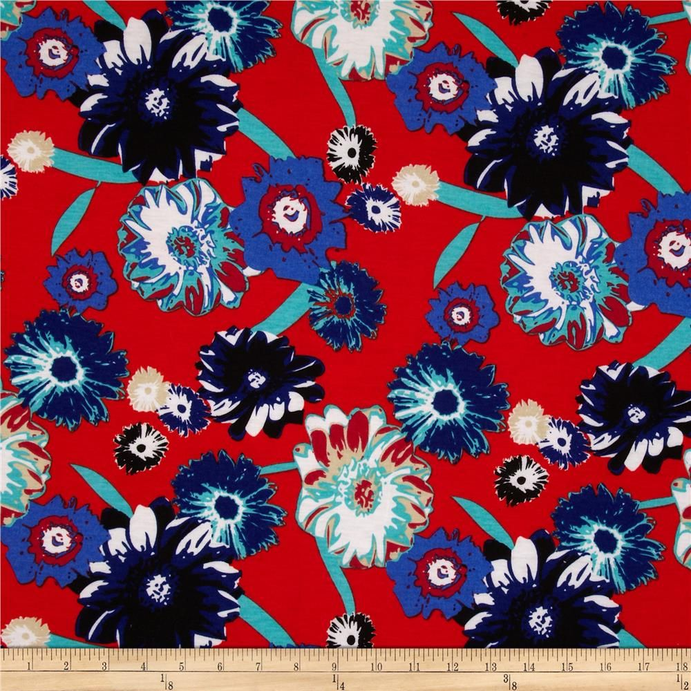 Soft Jersey Knit Floral Royal/Red from @fabricdotcom  This polyester jersey knit fabric has a soft cotton-like hand, a light drape and about 40% stretch across the grain. This versatile fabric is perfect for creating stylish tops, tanks, gathered skirts and fuller dresses with a lining.