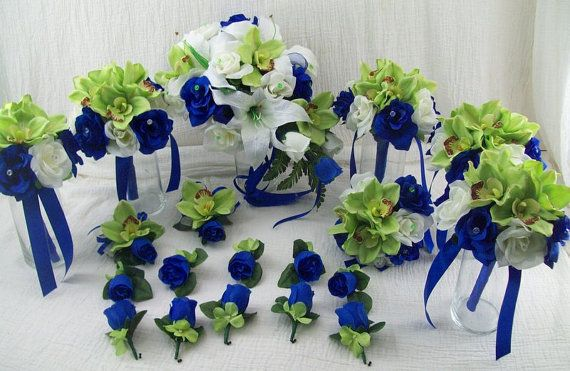 Horizon Blue Royal Blue and Apple Green Bridal Bouquets White Lilies ...
