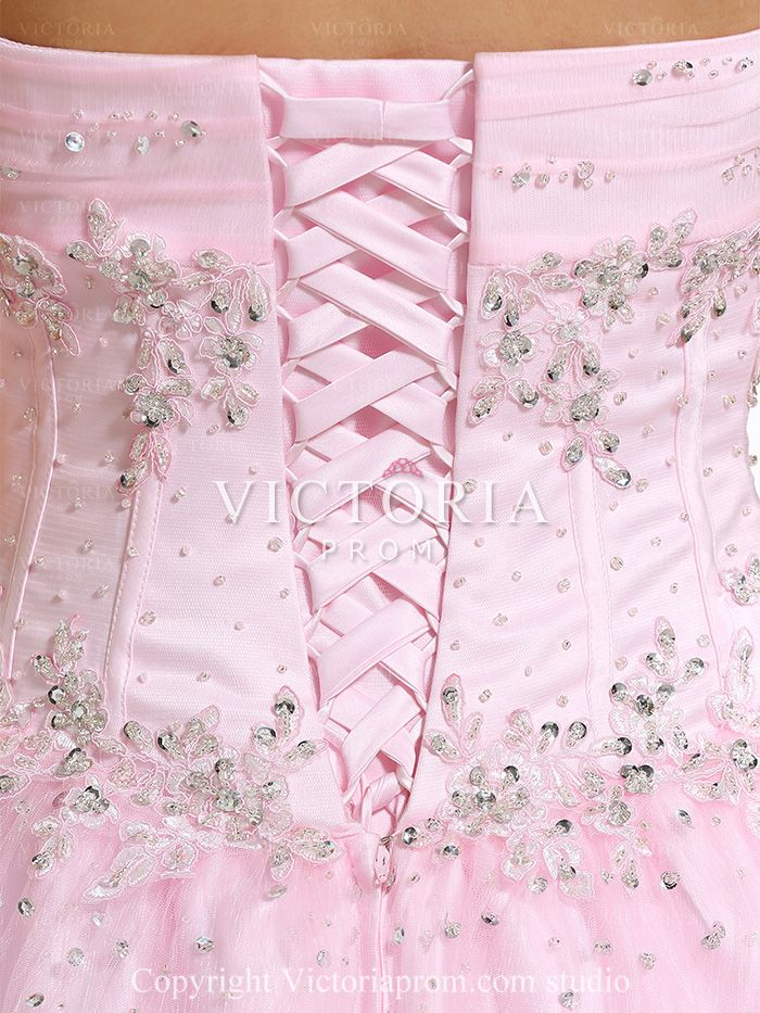 Pink Ball Gowns Long Beaded Tulle Satin Sweetheart Corset Prom Dress ...
