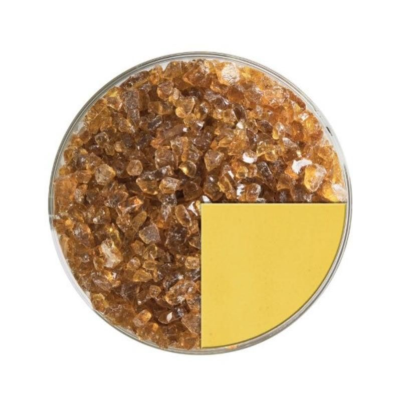 Bullseye Yellow Clear Streaky Glass 3mm Fused Fusing 5x5cm Microwave Kiln COE90