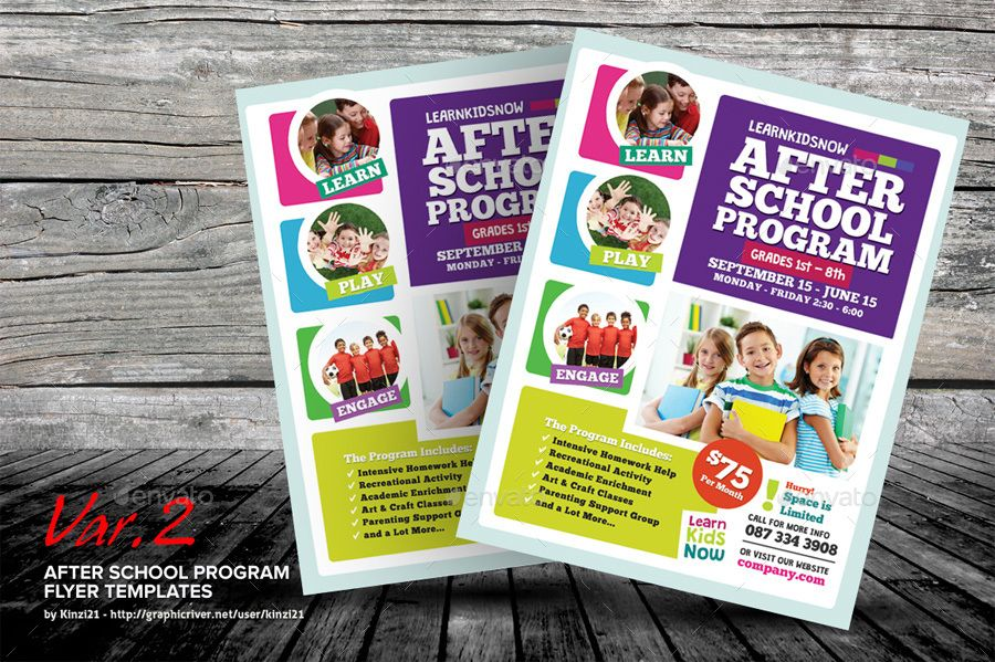 After School Program Flyer Templates A Template Set Perfect For Promoting Available In Three Design Variation These