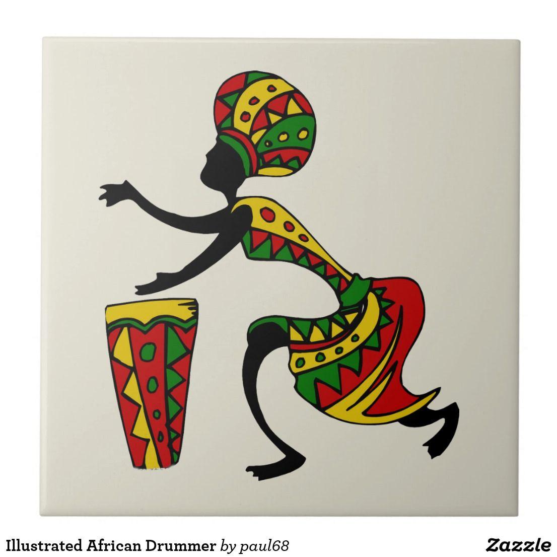 Illustrated African Drummer Ceramic Tile Kenya_