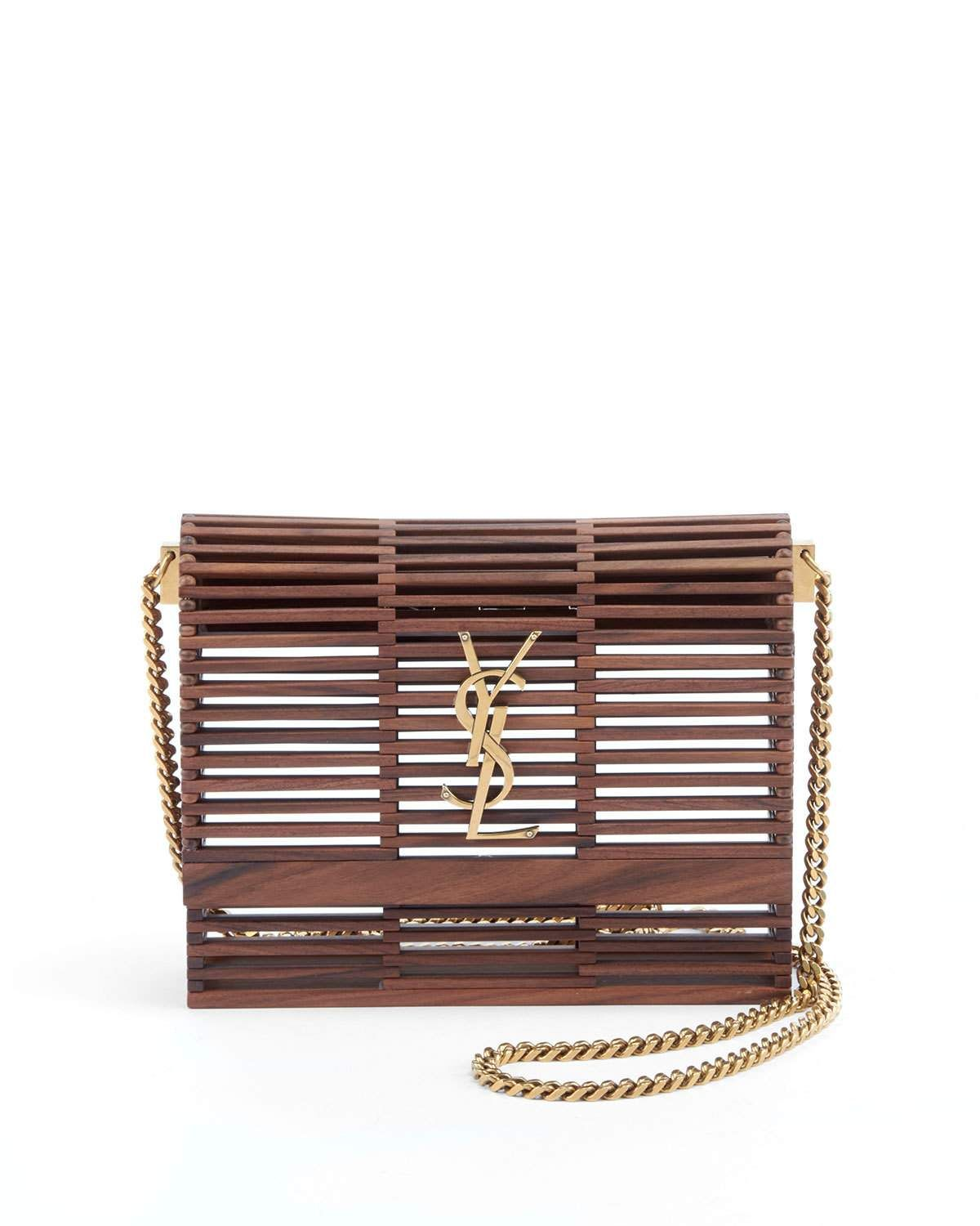 5a44eba0c81 Saint Laurent Small Kate Wooden Weave Box Bag in 2019 | Shoes and ...
