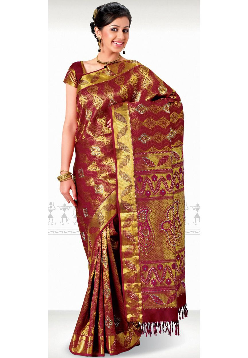 a070379971cee Maroon and Golden Pure Kanchipuram Silk Saree with Blouse Online Shopping   SZA1613