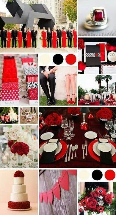 Paleta rojo, negro y blanco para boda, elegantemente atrevido.