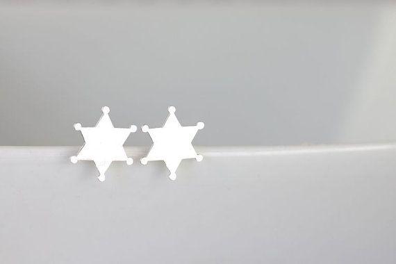 Silver Sherrif Star Stud Earrings Sterling by theHOMETOWNhaven