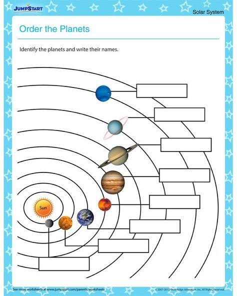Order the Planets – Solar system worksheets for kids | astronomy ...
