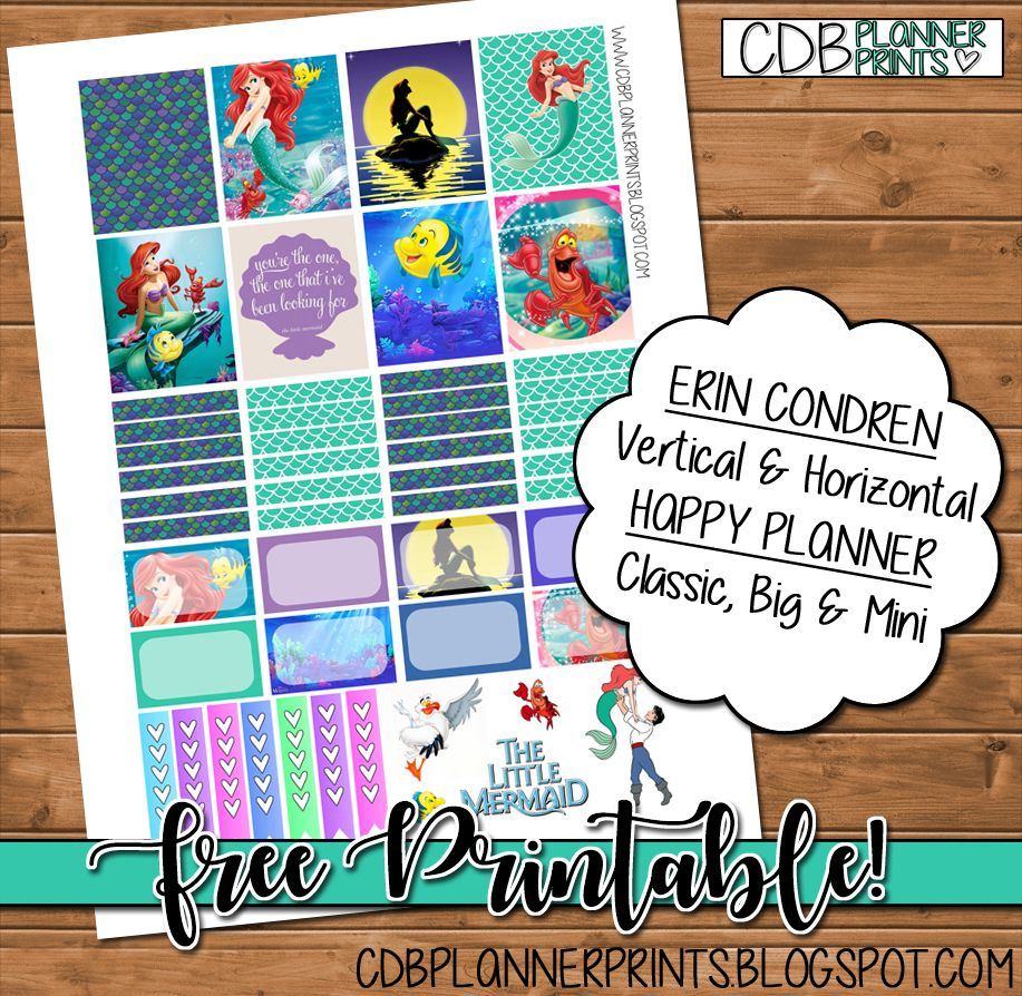 Free little printable mermaid planner stickers from cbd planner prints