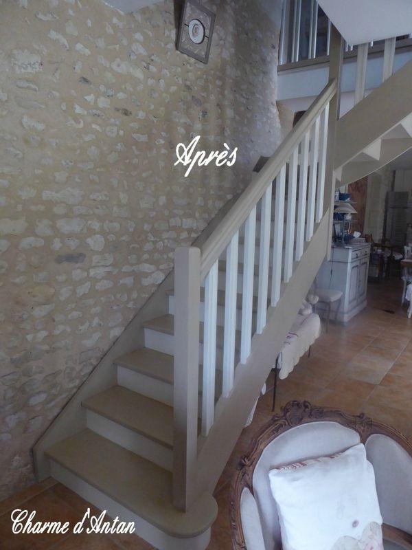 mon escalier repeint charme d 39 antan id es d co pour la maison pinterest repeindre. Black Bedroom Furniture Sets. Home Design Ideas