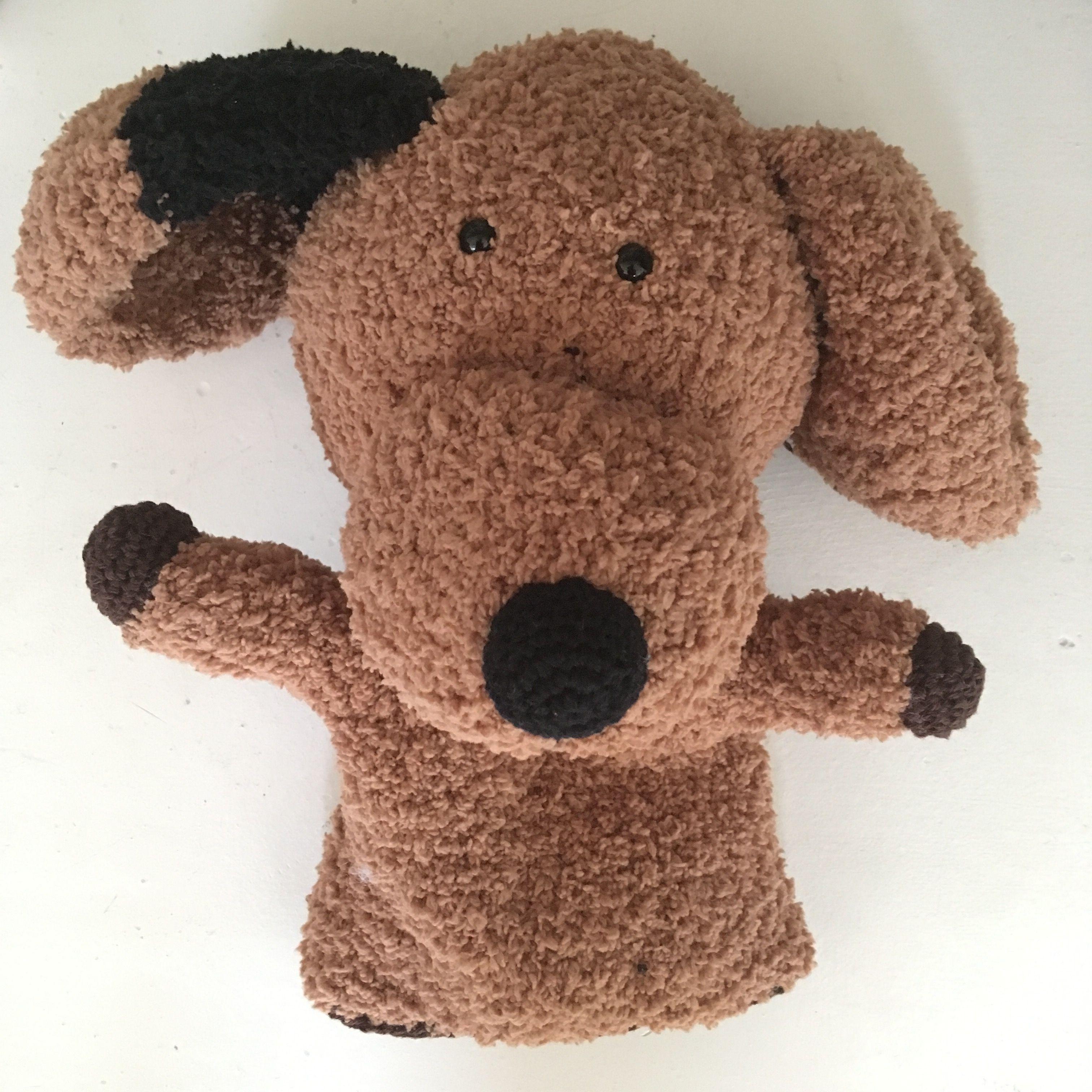 Handpoppen Hond Met De Oren Van Uit Het Boek Handpoppen Haken