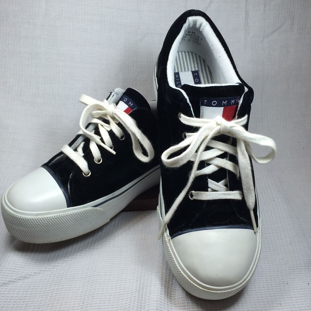 f26826c146a314 Tommy Hilfiger Tennis Shoes 8 M Black Velvet Sneakers Rubber Soles   TommyHilfiger  Tennis