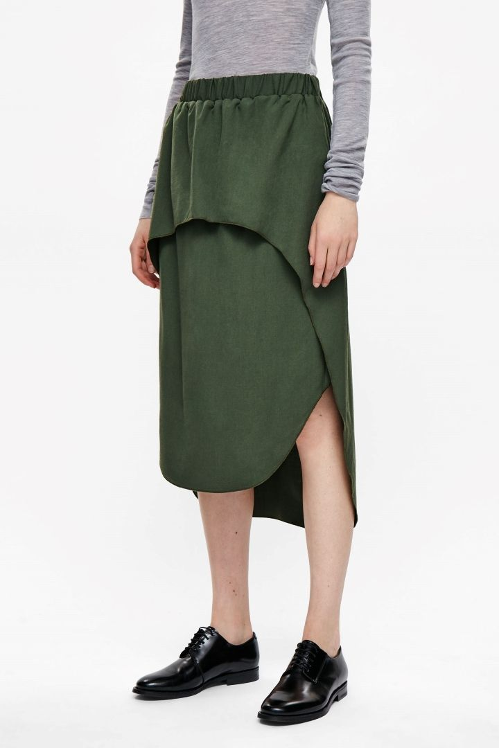 nuovo di zecca 6f9aa cf104 COS image 2 of Layered mid-length skirt in Khaki | Gonne