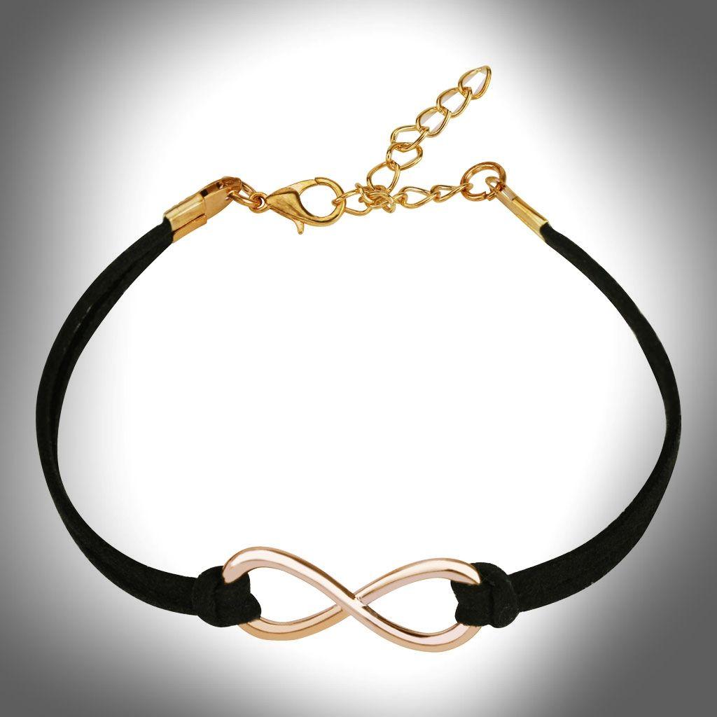 Small Infinity Symbol Cast Iron Leatherette Bracelet