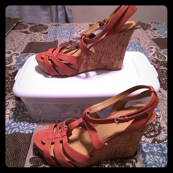 Nine West Peach Wedges Peach Wedges Nine West Strapy style  Cork Wedge  Great Condition!! Size: 9W Nine West Shoes Wedges