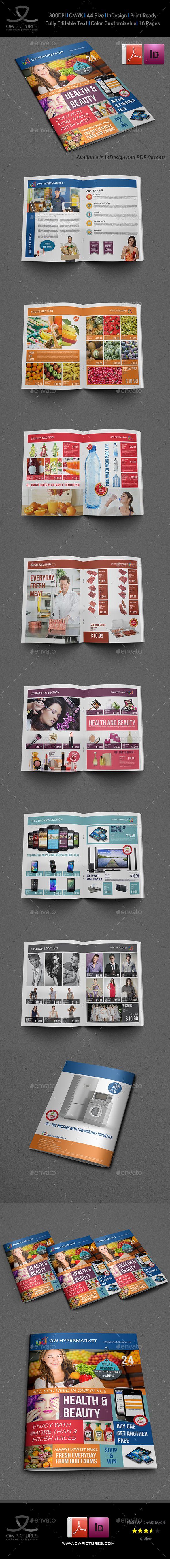 Supermarket Products Catalog Brochure Template InDesign INDD #design ...