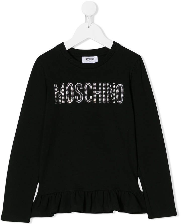 93c4260c0a Moschino Kids crystal logo long sleeve T-shirt | Products | Crystal ...
