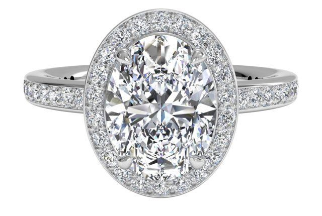 halo oval engagement ring | Oval Cut Halo Micropavé Diamond Band Engagement Ring in White Gold ...