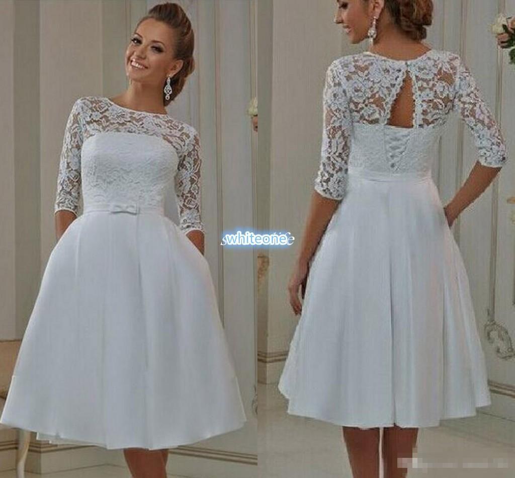 Cheap Short Mini Wedding Dresses 2016 A Line With Half Sleeve Knee ...