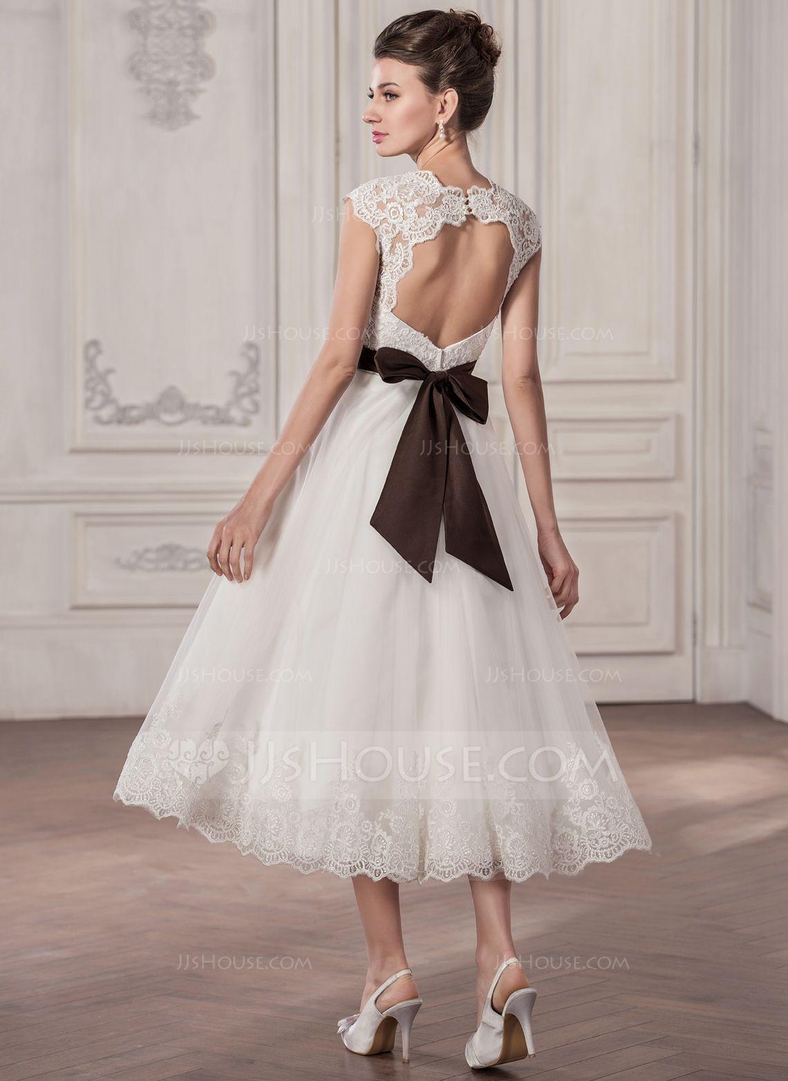 1b578040ecbf A-linjeformat Hjärtformad Tea-lång Satäng Tyll Spetsar Bröllopsklänning med  Skärpband Rosett/-er (002058808) - JJsHouse