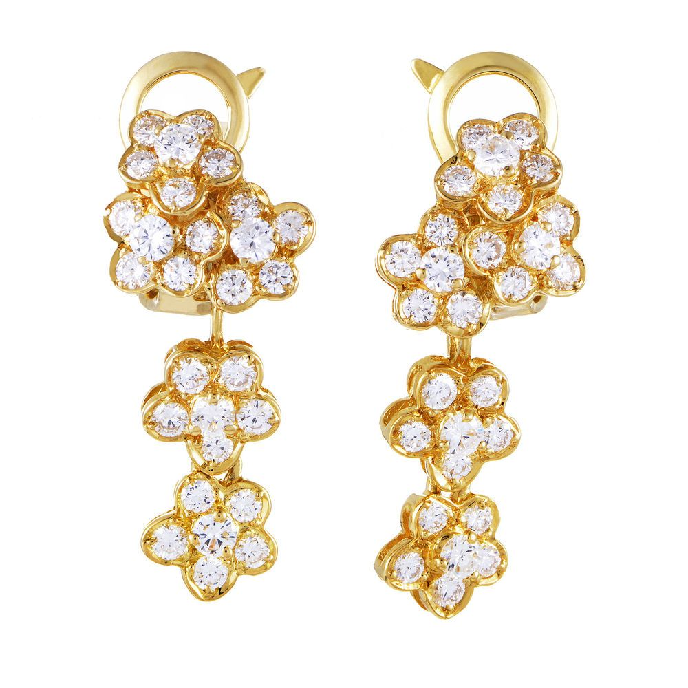 Van Cleef & Arpels Van Cleef & Arpels Womens 18k Yellow Gold Diamond Flow Flower  Earringsgold