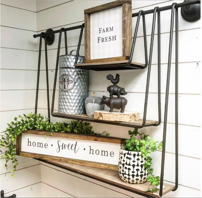 Farmhouse shelf and home decor for the kitchen, bathroom and living