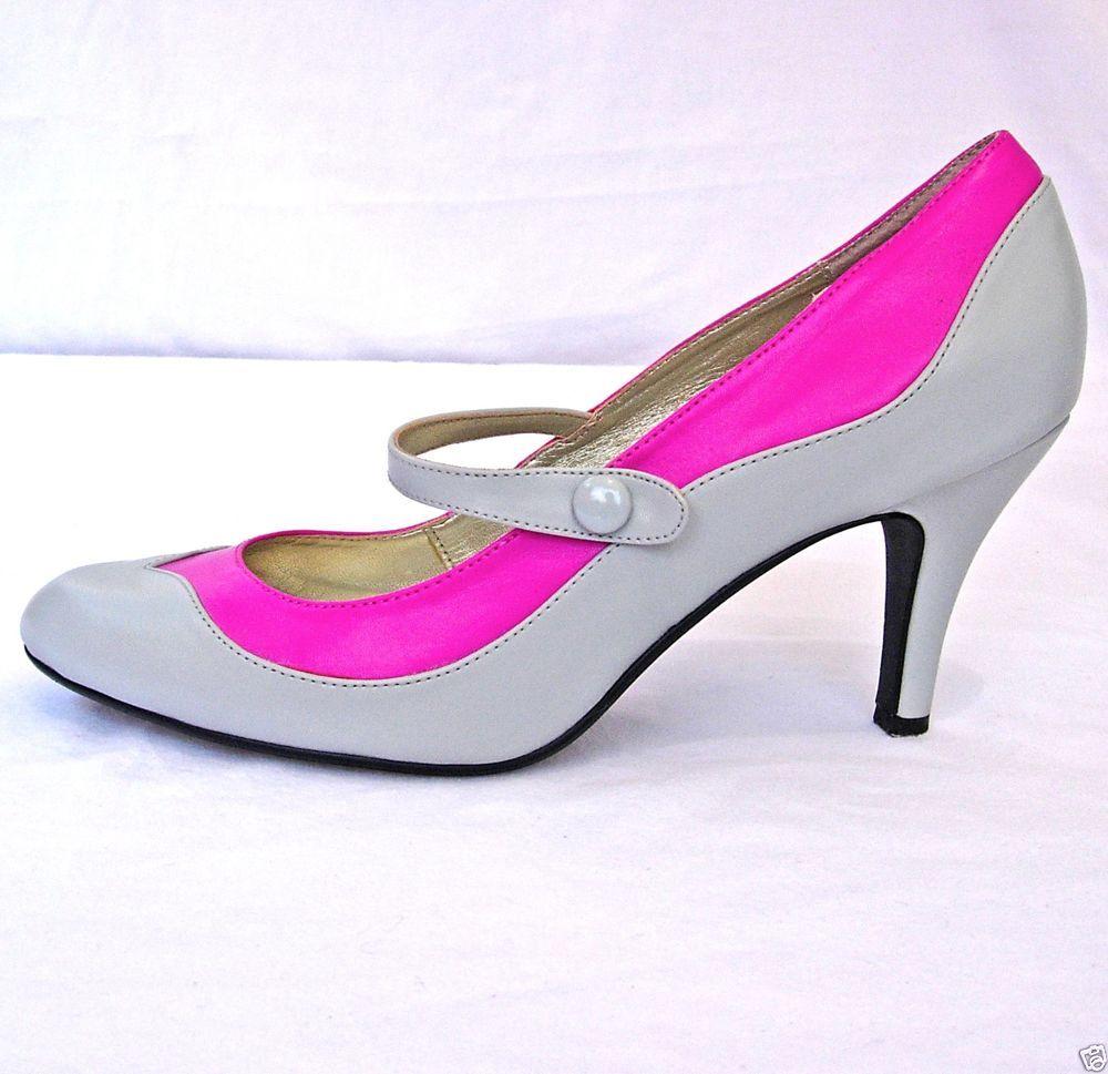 High Heel Pumps by Bijou of New York Gray/Pink Sz 9.5 - EUC! #BijouofNewYork #PumpsClassics