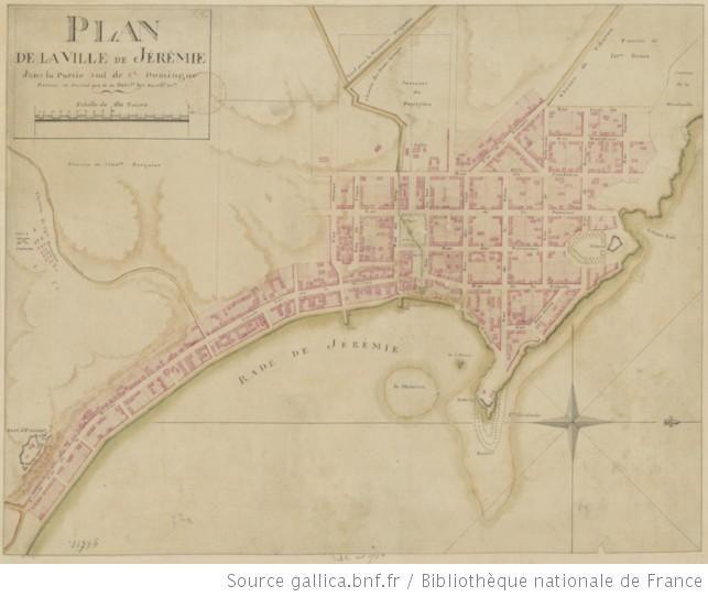 Plan de la ville de Jrmie dans la partie sud de SaintDomingue