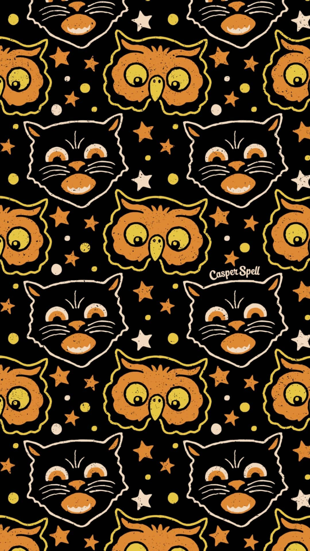Retro Black Cat And Owl Halloween By Artist Casper Spell Wallpaper Background Lock Screen For Ipho Vintage Halloween Art Halloween Wallpaper Retro Halloween