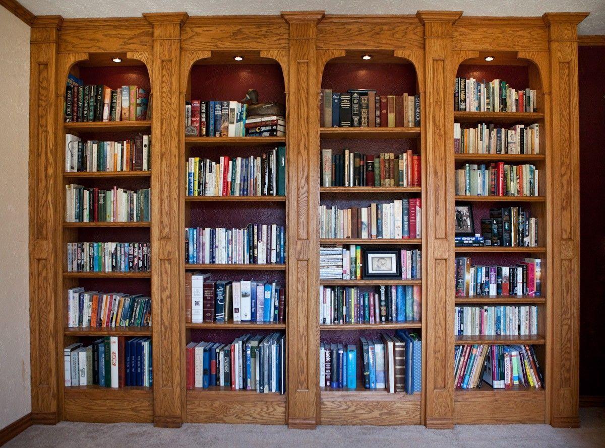 Room · Custom Made Built In Oak Bookshelves