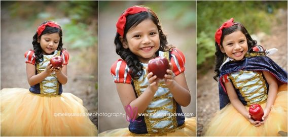 Girl in snow white costume with apple in the forest, theme photo session by child photographer Melissa Landres